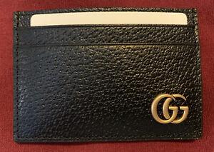 New Black Gucci GG Marmont Leather Money Clip