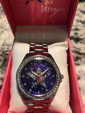Betsey Johnson Silver-Tone Blue Dial Multi-Star Stone Watch BJ00048-248 NWT