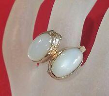 Estate 14k Yellow Art Nouveau Double Moonstones Bypass Friendship Ring Size 7