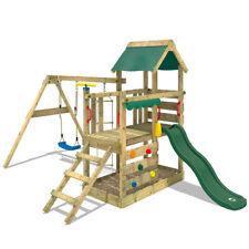 Aire de jeux Balançoire Portique bois avec toboggan vert - WICKEY TurboFlyer