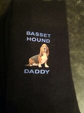 BASSET HOUND DADDY FUN PRINTED SOCKS BIRTHDAY DAD GIFT BOXED PRESENT MENS