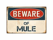 "Beware Of Mule 8"" x 12"" Vintage Aluminum Retro Metal Sign VS293"