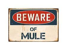 "Beware Of Mule 8ï¾"" x 12ï¾"" Vintage Aluminum Retro Metal Sign VS293"