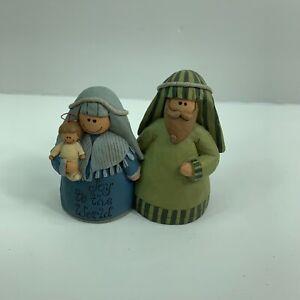 "Vintage Suzi Skoglund Blossom Bucket Nativity Mary Joseph Baby Small Figurine 3"""