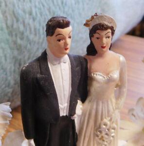 Vintage 1930's Wedding Cake Topper Bride & Groom  ~ FREE SHIPPING~