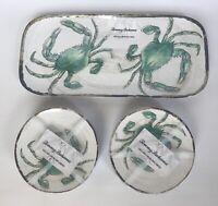 New Tommy Bahama Melamine Small Serving Tray Appetizer Plates Green Crab Coastal