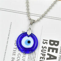Vintage Evil Eye Pendant Necklace Blue Glass Charms Silver Alloy Chain for Women