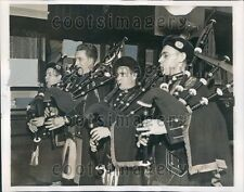 1938 Monoghan War Pipe Band Bagpipe Players Rehearsing NYC Press Photo