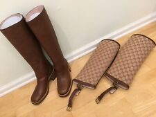 2019 GUCCI $1980 LOLA LEATHER BOOTS WITH GG GAITER 37.5 MADE IN ITALY AUTHENTIC