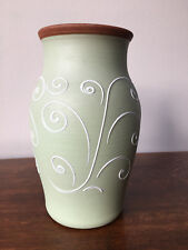 Vintage Denby Ferndale pale green stoneware vase with white swirls