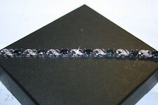 Natural Sapphire Gemstones Diamond X O Tennis Bracelet 14K White Gold Over Base