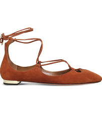 Aquazzura Dancer suede ankle tie Flats shoes 38.5 UK 5.5 US 8.5 New Brown SALE