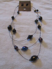 "Black Faceted Plastic Bead on Wire 3 Strand Necklace - 18-20"" long - NEW"