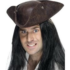 Pirate Tricorn Hat Fancy Dress Caribbean Jack Sparrow Leather Davy Jones Hook