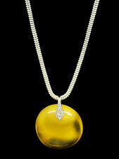 Natural Baltic Amber Unique Only Yellow Pendant 925 silver with 925 silver chain