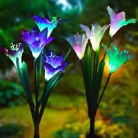 Outdoor Solar Garden Stake Lily Flower Lights 2 Pack Upgraded Solar Flower Light