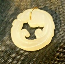 CHINA  QING  JADE PENDANT  / SILVER  AMULET - CHAIN    BEAUTY  / COINS / PEARLS