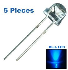 5 Pieces Blue LED 5mm Straw Hat Ultra Bright Wide Angle Light Long Lasting Lamp
