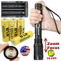 50000LM T6 LED Zoom Rechargeable 18650 Flashlight Torch Lamp + Battery & Charger