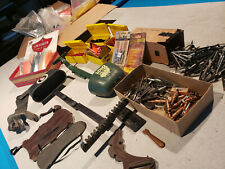 LARGE Vintage ARCHERY LOT Broadheads Feathers Accessories Bear Quiver Bow Arrow