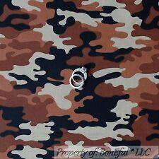 BonEful Fabric Cotton Quilt Brown Black Army Boy Military Camouflage Retro SCRAP