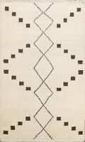 Thick-Plush Geometric Moroccan Oriental Area Rug Hand-knotted Modern Carpet 6x8