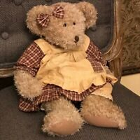 Russ Berrie Plush Teddy Bear Chelsea Plaid Dress Pinafore & Matching Bow 16""