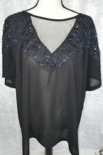 ROAMAN'S Woman's Size 24W Black Sequins Special Occasion Top Sheer Blouse NWOT