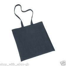 10 x 100% Plain Black Cotton Eco Shopping Shoulder Tote Bags - School Grocery