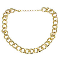 """18"""" Celebrity Punk Style Chunky Gold Statement Short Curb Chain Necklace fashion"""