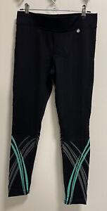 Michelle Bridges 3/4 Workout Gym Pants Size 10 Black Green Stripe Zip Pocket