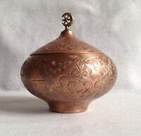 Antique Turkish Ottoman Copper Sugar Bowl With Lid