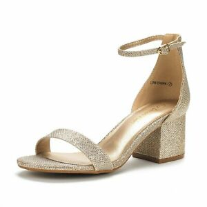 DREAM PAIRS Women's Low Chunky Heel Sandals Open Toe Ankle Strap Dress Shoes