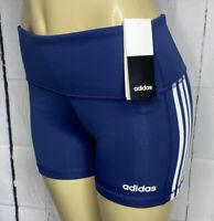 Adidas Shorts Tight 3S Training Tech Indigo White Athletic Women Sz M XL NWT