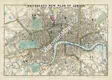 Whitbread's New Plan Of London historical map Victorian guide 1858 art poster