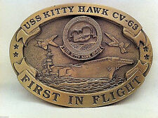 USS Kitty Hawk Custom Navy Belt Buckle CVN-63 (Solid Brass)