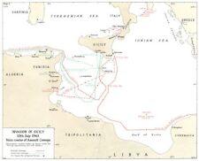 L'ITALIA. invasione della Sicilia 10th LUGLIO 1943 principali vie di assalto CONVOGLI 1973 Mappa