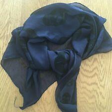 Ladies sheer skull scarf/wrap - navy and black