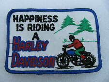 Happiness is Riding A Harley Davidson Patch Knucklehead Panhead Shovelhead