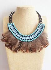 Brown Piuma Blu Cristallo africana in Stile Messicano Stile Hippy Bohemien Tribale Collana