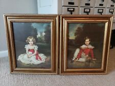 H Volkmann Prints Little Princess & Lord Seaham gold frames Victorian Boy Girl