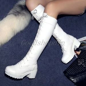 Sexy Women's Shoes Round Toe Chunky Heel Knee High Boots Shoes Snow Punk Cosplay
