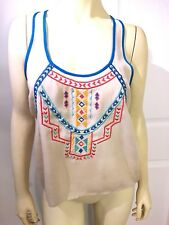Flying Tomato Crop Embroidered Gauze Tank  Top Beige Sleeveless Small