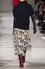 Victoria Beckham Pleated abstract printed georgette midi skirt F 42/ US 10