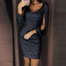 Women Sparkly V Neck Long Sleeve Bandage Bodycon Mini Dress Party Gown Clubwear