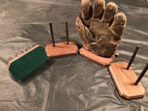 4 Vintage Antique Baseball Glove Displays Made Of Walnut