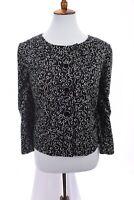 Ann Taylor Loft Womens Blazer Jacket Cotton Lined Black White Sz 14 Large