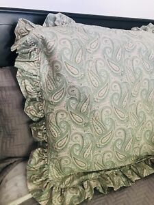 "Laura Ashley Paisley Ruffled EURO Sham 31x31"" Pink/Green/White-Cotton Blend"