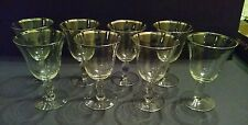 "Vintage 8-pc Glastonbury Lotus Colonial 92 Platinum Trim Water Goblets 6"" tall"