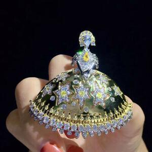 Luxury! Dancing Girl Brooch, Cubic Zirconia Brooch, Brooches Silver
